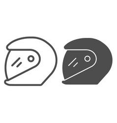 Racing helmet line and glyph icon motorcycle vector