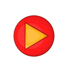 Red play button icon in cartoon style vector image