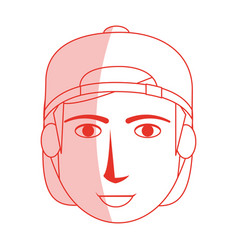 Red silhouette shading cartoon front face guy with vector