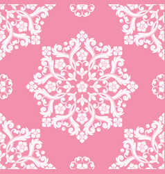 Seamless damask pattern pink texture vector