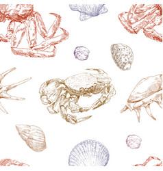 seamless hand drawn seashells and crabs pattern vector image