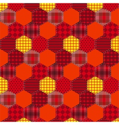 Seamless pattern patchwork orange fabrics hexagon vector