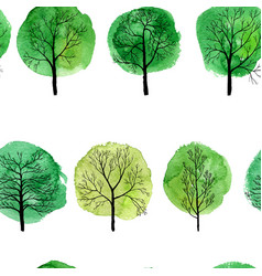 seamless pattern with deciduous trees vector image