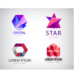 set abstract origami logos star cube vector image