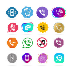 set of different icons with phone on white vector image