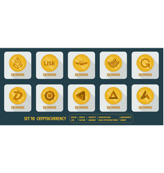 Set of icons exchange cryptocurrency vector