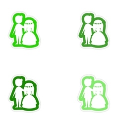 Set of paper stickers on white background bride vector