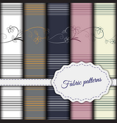 set of seamless patterns for fabric of different vector image