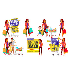 shopping woman set people in mall family vector image