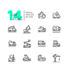 Special vehicles - line design icons set vector