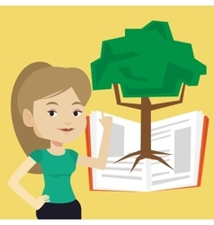 Student pointing at tree of knowledge vector image