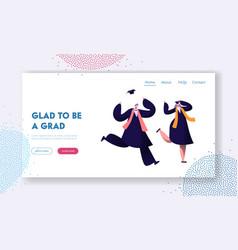 students celebrating graduation end education vector image
