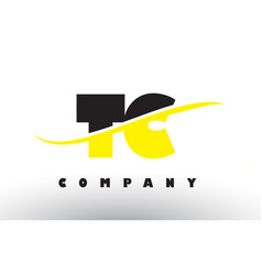 Tc t c black and yellow letter logo with swoosh vector
