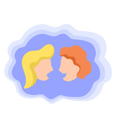 two talking heads dialogue icon vector image
