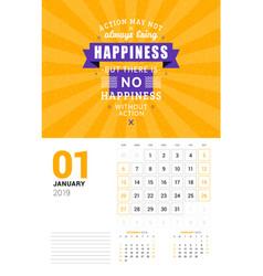 wall calendar template for january 2019 design vector image