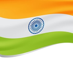 Waving flag of India isolated on white vector image