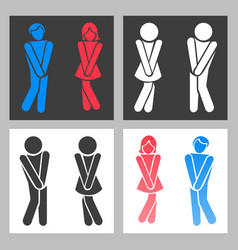 Wc sign funny boy and girl toilet icons or vector
