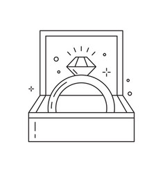 Wedding and engagement ring line art icon vector