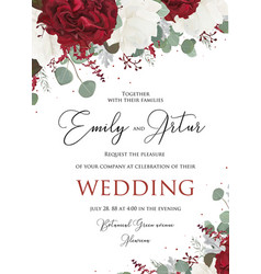 wedding floral invite save the date card design vector image