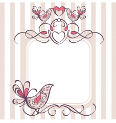wedding frame with cute birds vector image