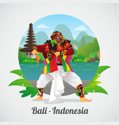 Welcome to bali greeting card with balinese mask vector