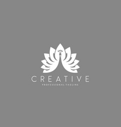 White peacock logo vector