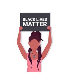 Woman holding black lives matter banner awareness vector