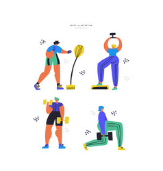 Workout training hand drawn flat set vector