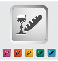 Bread and wine vector image