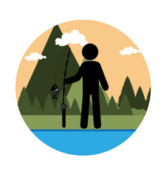 colorful circular landscape with man fishing vector image