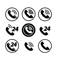 phone call telephone service 24 hours set of vector image