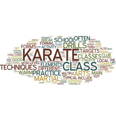 The main elements of a typical karate class text vector