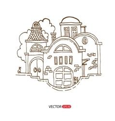 Cartoon hand drawing houses vector image