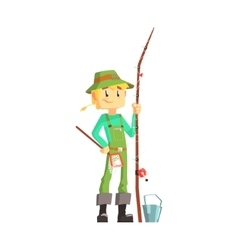 Fisherman with fishing rod standing and smiling vector