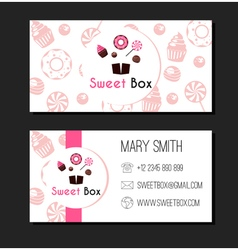 Sweet Box Donuts Business Card Label vector image
