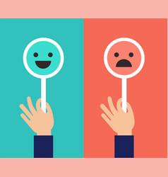 Emoticons scale satisfaction concept vector