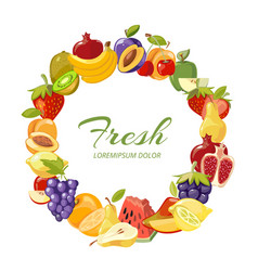 fruits healthy eating frame isolated over vector image