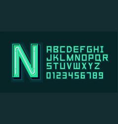 green neon light alphabet font vector image