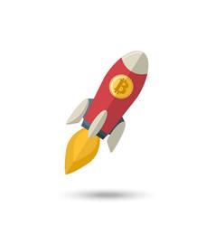 Bitcoin icon rocket ship vector