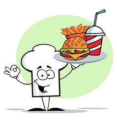 Chef Hat Guy Carrying Fast Food vector image