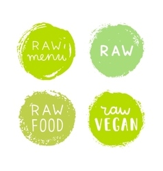 Set of raw vegan badges vector image
