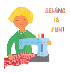 Sewing girl - cute vector image vector image