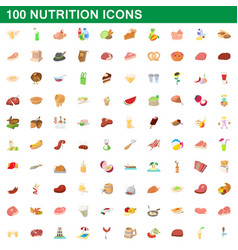 100 nutrition icons set cartoon style vector
