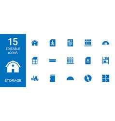 15 storage icons vector