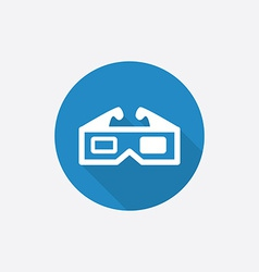 3d movie Flat Blue Simple Icon with long shadow vector image
