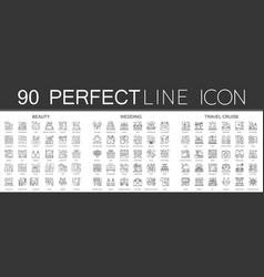 90 outline mini concept infographic symbol of vector