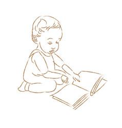 a bareading a book vector image