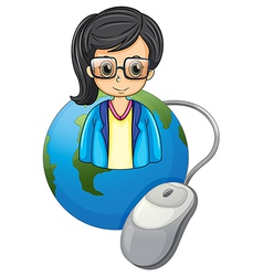 A serious lady above the globe with a computer vector