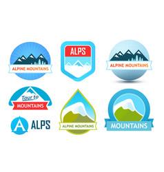 alpine mountains logos vector image