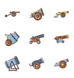 armament icons set cartoon style vector image
